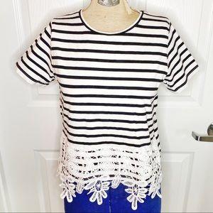 NWOT Zara Basic Crochet Lined Striped G16